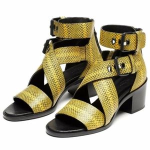 Rag & Bone Yellow Python Leather Heeled Sandal